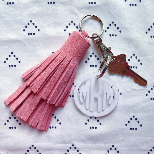 Light Pink Suede Tassel Keychain - Layered