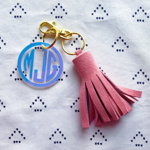 Light Pink Suede Tassel Keychain - Mini XL