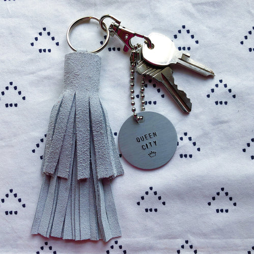 Light Grey Suede Tassel Keychain - Layered