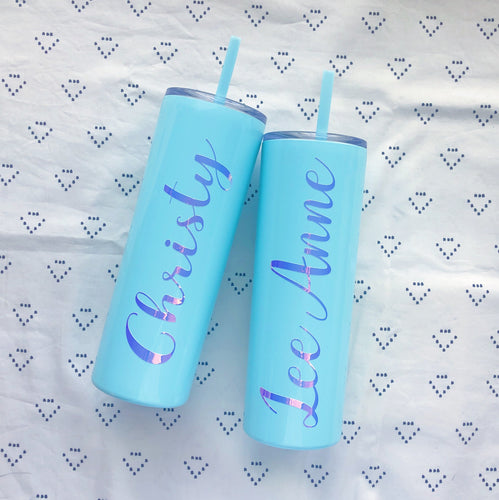 Personalized Cursive Name Skinny Stainless Steel Tumbler (20 ounces)