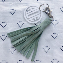 Light Green Suede Tassel Keychain