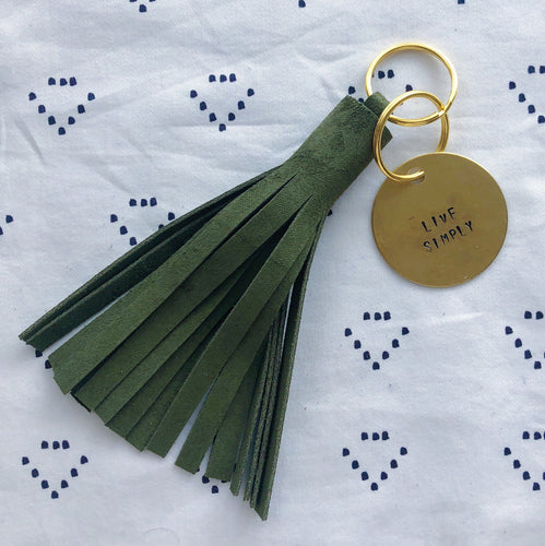 Hunter Green Suede Tassel Keychain