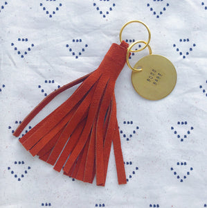 Burnt Orange Suede Tassel Keychain