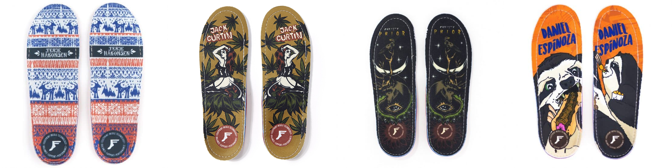 Some of the designs available for the Gamechanger insole from Footprint Insole Technology.