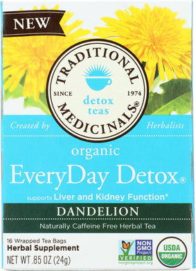 TRADITIONAL MEDICINALS: Organic Everyday Detox Dandelion Herbal Tea 16 Tea Bags, 0.85 oz