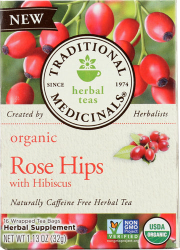 TRADITIONAL MEDICINALS: Tea Rose Hips Hibiscus Organic, 16 bg