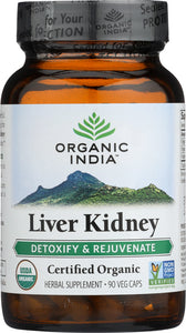 ORGANIC INDIA: Liver Kidney Detoxify and Rejuvenate, 90 Vegetarian Capsules