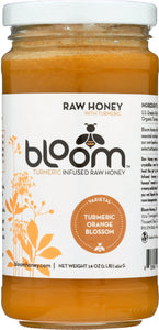 BLOOM HONEY: Turmeric Infused Orange Blossom Honey, 16 oz
