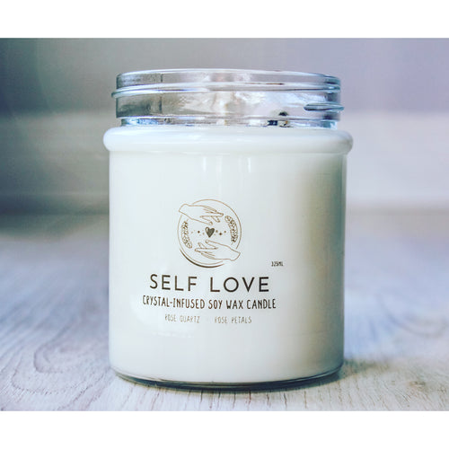 Self Love Crystal Charge Candle | Healing Crystal Candle