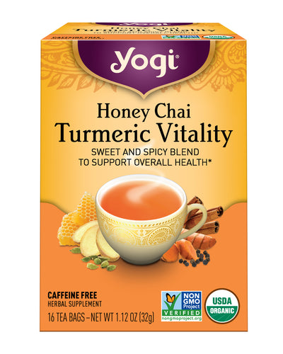 YOGI TEAS: Honey Chai Turmeric Vitality Tea, 16 bg