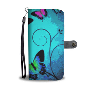 Wallet Phone Case - Blue Butterflies