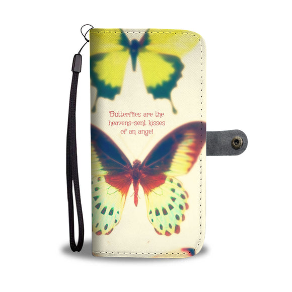 Wallet Phone Case - Cream Butterflies