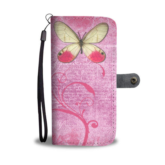 Wallet Phone Case - Pink Butterflies