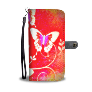 Wallet Phone Case - Red Butterflies
