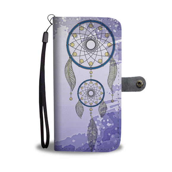 Wallet Phone Case - Blue and Yellow Dreamcatcher