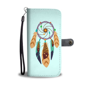 Wallet Phone Case - Brown and Teal Dreamcatcher