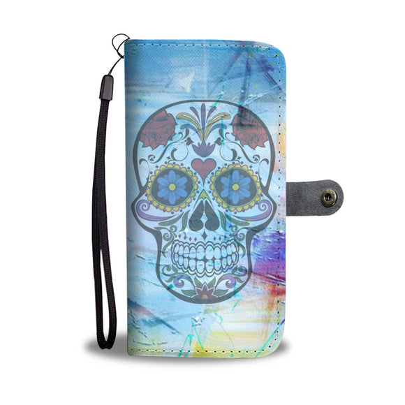 Wallet Phone Case - Rose Skull