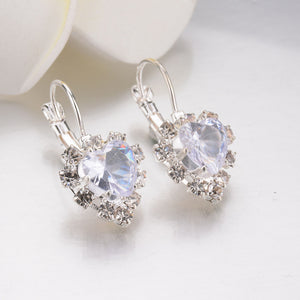 Rhinestone Lace Heart Earrings