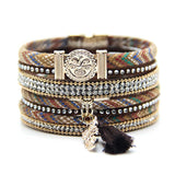 Stacked Bracelet with charms and tassel