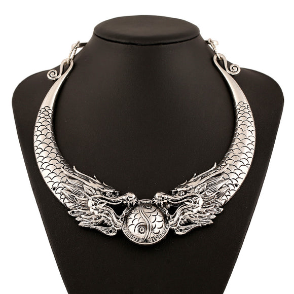 Double Dragon Statement Necklace