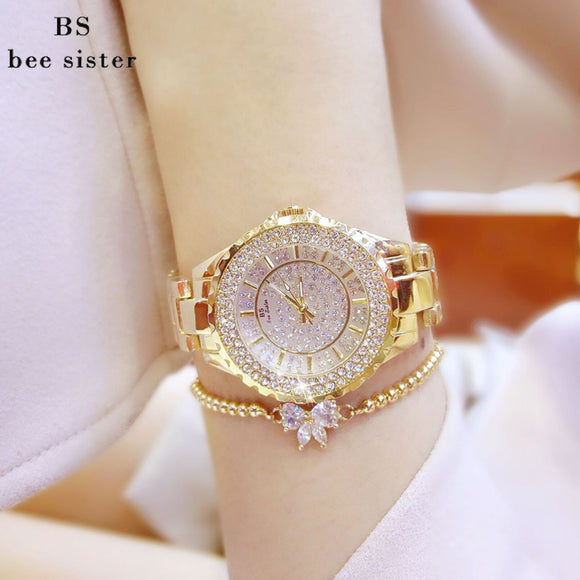 Bee Sister Quartz Watch with Rhinestones and Bow Bracelet