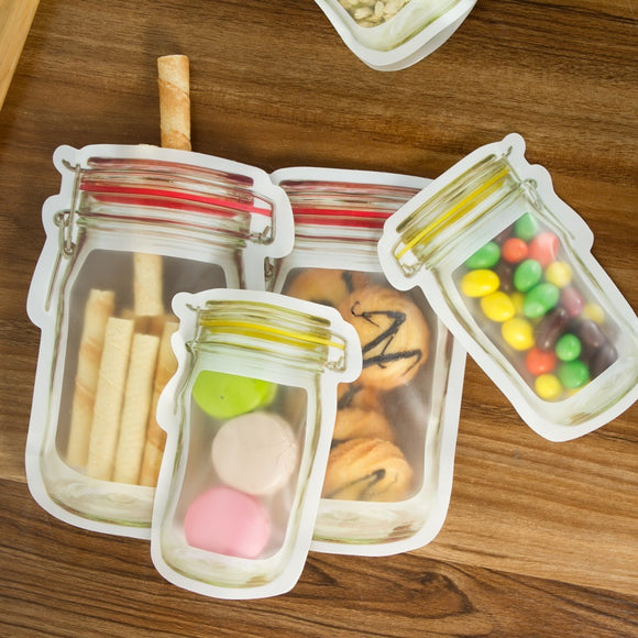 29-Piece Clear Reusable Food Storage Bags in the shape of Preserving Jars