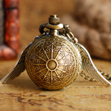 Stainless Steel Winged Pocket Watch with Necklace