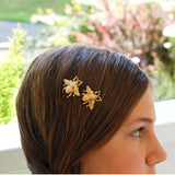 2-piece set Gold Tone Bee Hairpin Side Clip