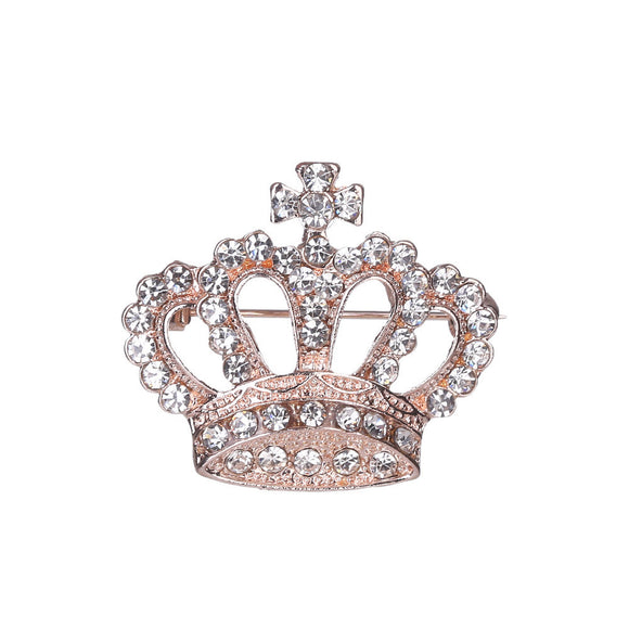 Rhinestone Crown Brooch