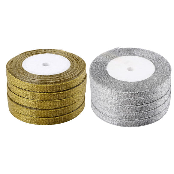 5 Rolls (125 yards) Silver or Gold Metallic Ribbon Yarn