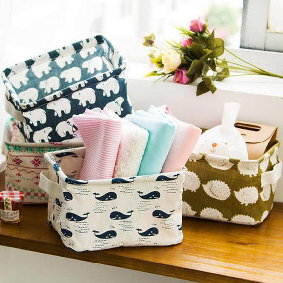 Linen Foldable Storage Basket