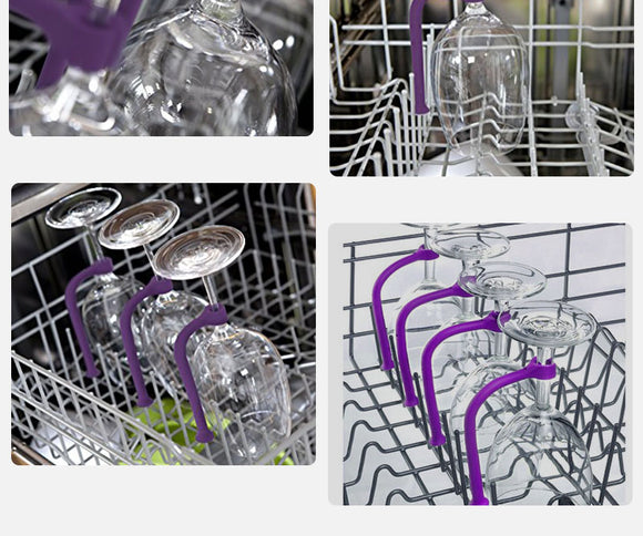 4-piece set Silicone Wineglass Dishwasher Brackets