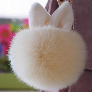 Cute Mini Ear Faux Rabbit Fur Plush Ball Chain For Bag