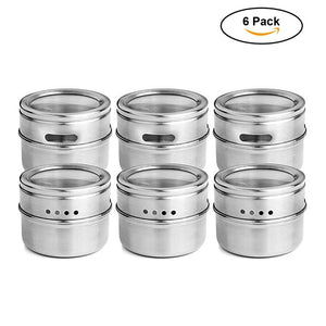 6 or 12 piece set Clear Lid Magnetic Stainless Steel Storage Container Jars