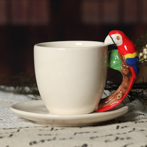 Hand Painted Cup and Saucer Set with Animal Handles