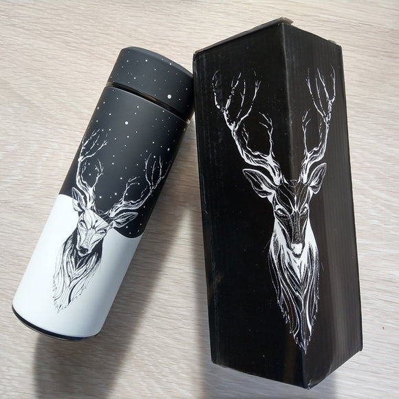 Stainless Steel Vacuum Flask with BPA Free Cup decorated with deer, antlers and galaxy motif