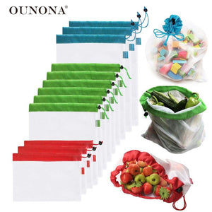 12-piece 3-Sizes Reusable Mesh Produce Bag