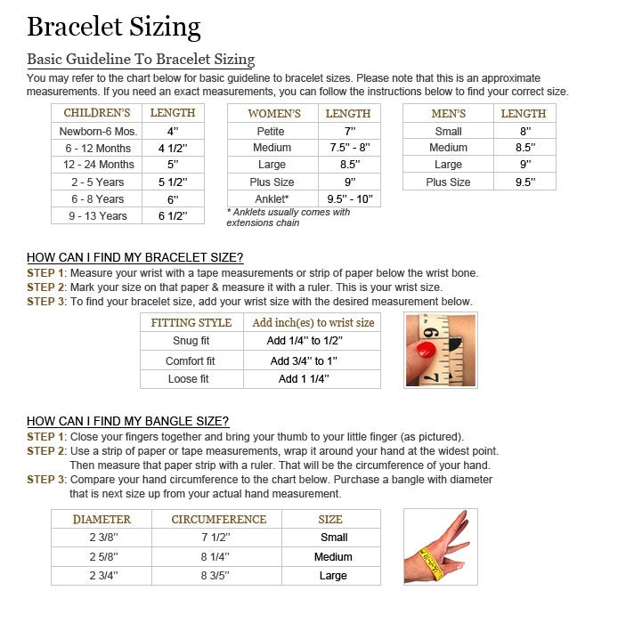 Bracelet Size Chart – Nifty Thrifty Cool