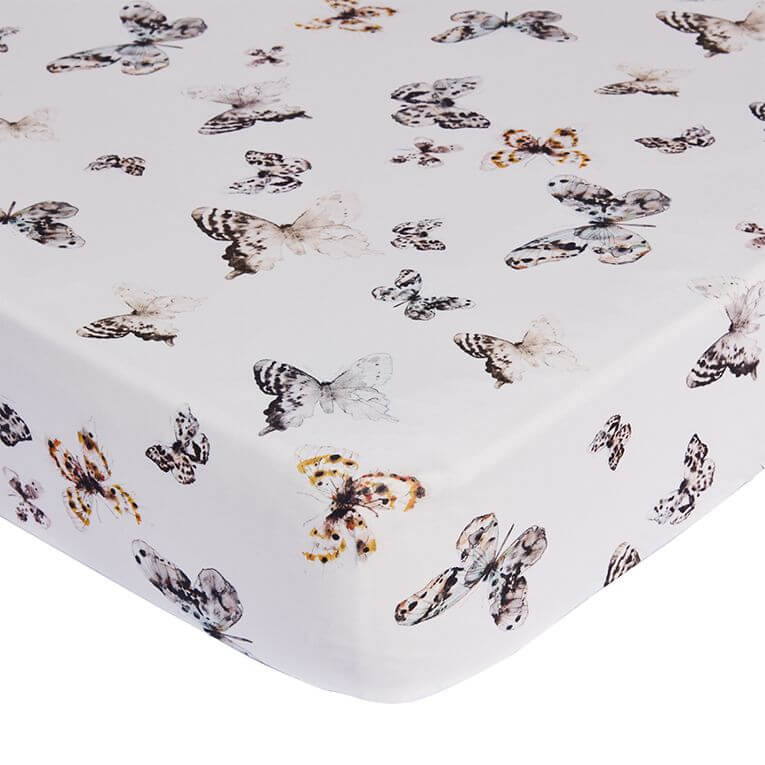 Fitted Sheet Toddler Bed Offwhite | Fika Butterfly