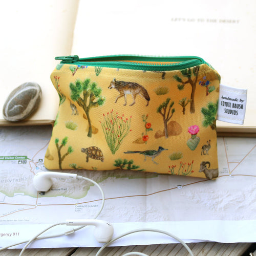 Small California Desert Zipper Pouch, Coin Zipper Pouch, Watercolor Botanical Illustration, Travel Organizer Bag, Flat Purse