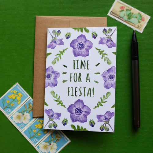 Time for a Fiesta - Fiesta Flower, California Native Plant, Party, Celebration Greeting Card