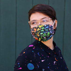 *Ships in 1.5 Weeks* California Diversity Fabric Mask - Adult size, triple-layer, elastic head bands, reusable, good with glasses, ecofriendly