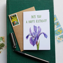 Iris You A Happy Birthday - Douglas Iris California Native Plant, Birthday, Celebration Greeting Card