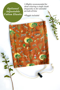 *Ships in 1.5 Weeks* Organic Cotton California Flora Fabric Mask - Adult size, triple-layer, elastic head bands, reusable, good with glasses, ecofriendly