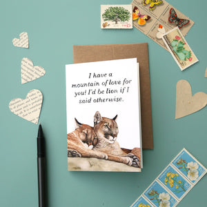 A Mountain of Love For You - greeting card, mountain lion, punny valentine's day card