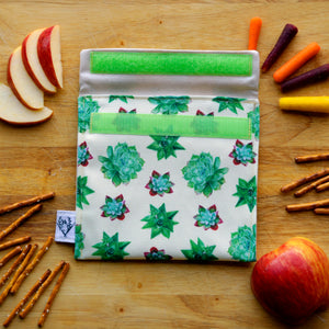 Reusable Snack Sandwich Bag - Zero Waste - Food Storage Bag - Eco-Friendly - Recycled Plastic Fabric - Succulents Native Plants