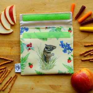 Forest Friends Reusable Snack Sandwich Bag - Zero Waste - Food Storage Bag - Eco-Friendly - Recycled Plastic Fabric