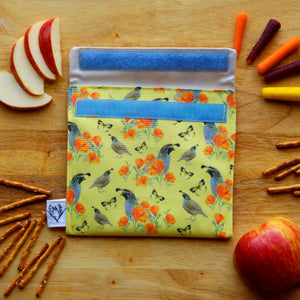 Poppy & Quail California State Symbols Reusable Snack Sandwich Bag - Zero Waste - Food Storage Bag - Eco-Friendly -Recycled Plastic Fabric -