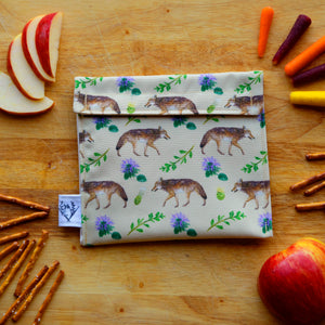 Coyotes Reusable Snack Sandwich Bag - Zero Waste - Food Storage Bag - Eco-Friendly - Recycled Plastic Fabric