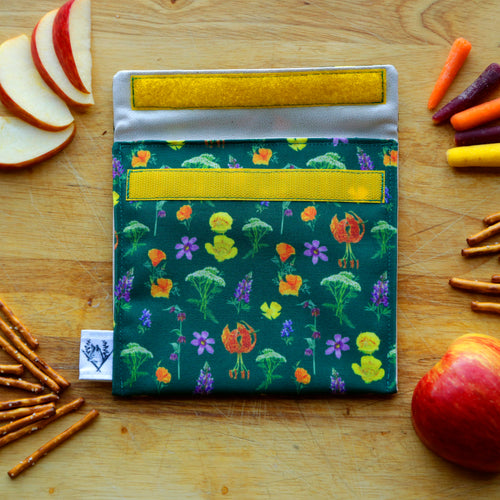 Wildflowers Reusable Snack Sandwich Bag - Zero Waste - Food Storage Bag - Eco-Friendly - Recycled Plastic - California Native plant gift
